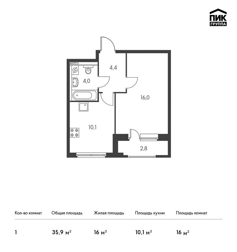 Планировка Однокомнатная квартира площадью 35.9 кв.м в ЖК «Орловский парк»