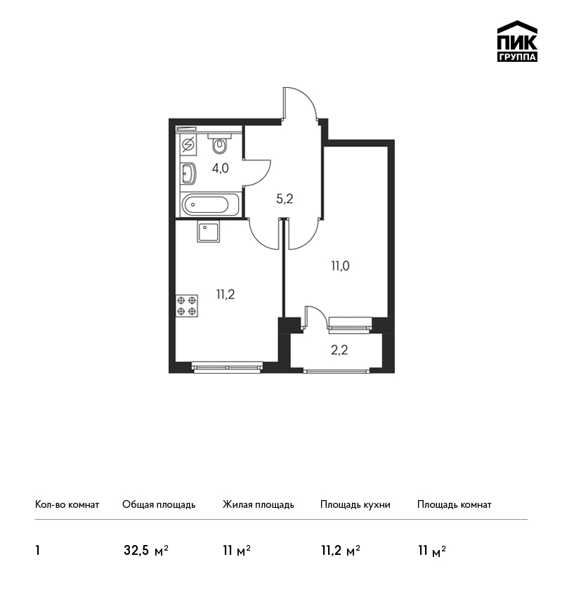 Планировка Однокомнатная квартира площадью 32.5 кв.м в ЖК «Орловский парк»