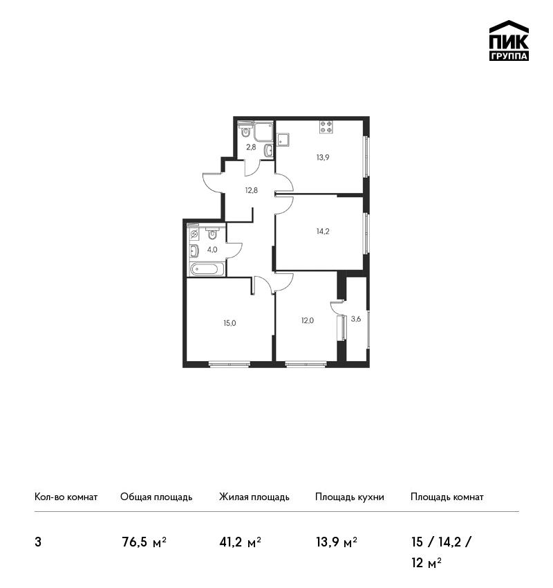 Планировка Трёхкомнатная квартира площадью 76.5 кв.м в ЖК «Орловский парк»