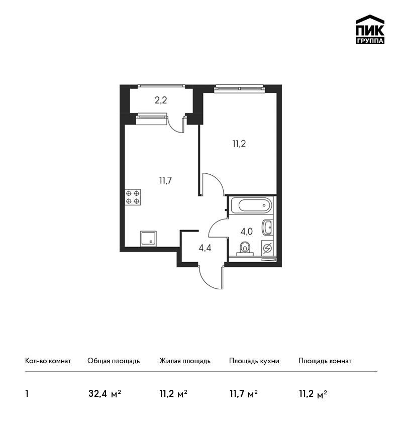 Планировка Однокомнатная квартира площадью 32.4 кв.м в ЖК «Орловский парк»