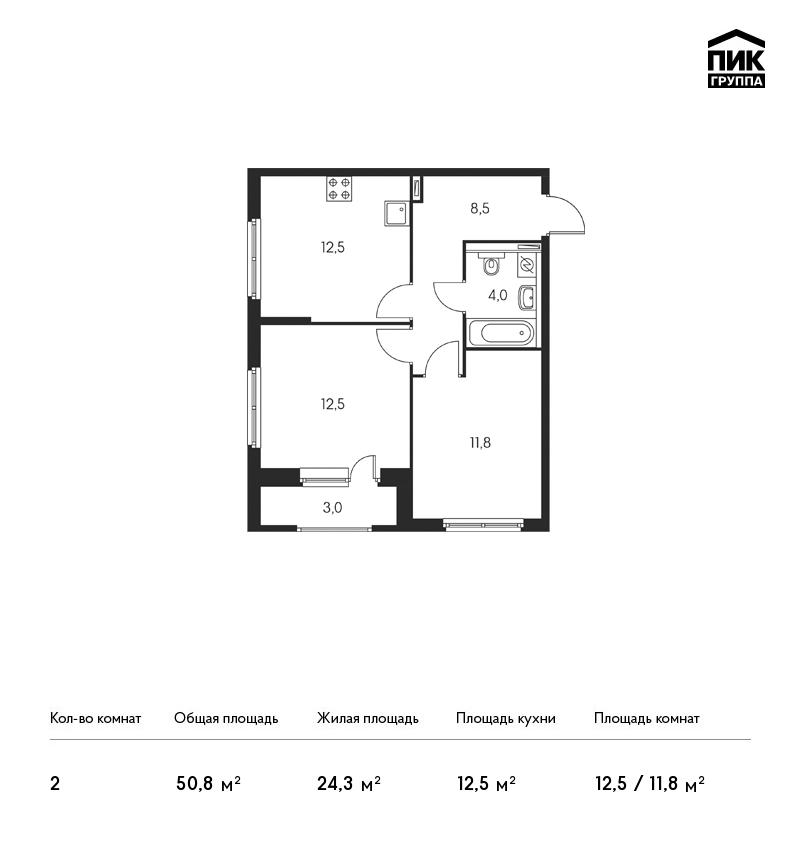 Планировка Двухкомнатная квартира площадью 50.8 кв.м в ЖК «Орловский парк»